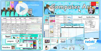 PlanIt - Computing Year 2 - Computer Art Unit Pack - computer art, digital art, artists, painters, recreate, artwork, techniques, shape, colour, size, lines