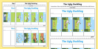 The Ugly Duckling Story Writing Flap Book - flap book, story