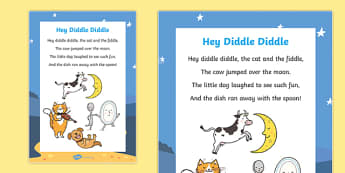 Hey Diddle Diddle Nursery Rhyme Poster - rhymes, poems, display