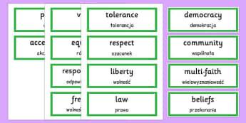 British Values Word Cards Polish Translation - polish, british values, word cards, word, cards, british, values