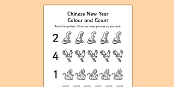 Chinese New Year Themed Count and Colour Sheet - colour, sheet