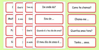 Basic Phrases Word Cards Portuguese - portuguese, basic phrases, word cards, word, cards, basic, phrase