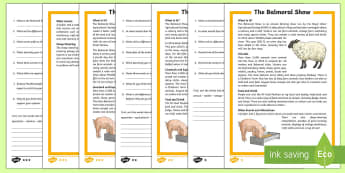 Balmoral Show Differentiated Comprehension Challenge Sheet - Northern Ireland, Balmoral Show, 10th-13th May, Farming, Agriculture, Key Stage 2, reading, comprehe