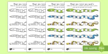 Ficha de actividad: Mayor que, menor que, igual a - Serpientes - mates, matemáticas, mayor que, menor que, igual, igual a, serpiente, serpientes, signos matemático