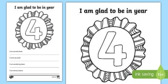 Im Glad to be in Year 4 Writing Frame - writing template, write