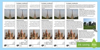Europe Landmarks Reading Comprehension Activity Arabic/English - Europe Landmarks Reading Comprehension Activity - geography, continent, comprehesion, comprehnsion,