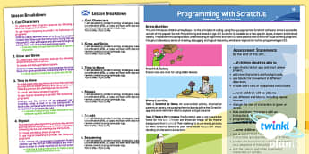 CfE Programming with ScratchJnr Year 1   Early First Level Overview-Scottish