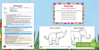 EYFS Colour Mixing Elephant Busy Bag Plan and Resource Pack - Elmer, David McKee, colour, wilbur, colour mixing, secondary colours, patchwork, elephant