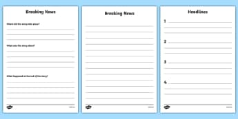 Breaking News Writing Frame - news, newsroom, breaking news, writing frame, independent writing, story writing, activity, news presenter, reporter, camera, headlines, story, press, camera operator, bulletin