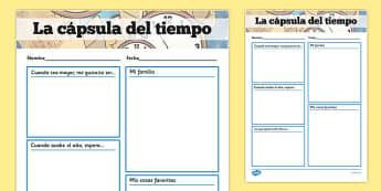 La cápsula del tiempo - spanish, writing frame, time capsule, transition writing frame, transition, time capsule writing frame, writing template