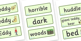 Where's My Teddy Word Cards - Where's My Teddy, teddy, woods, forest, lost, bear, word card, flashcards, cards, reading, story, book