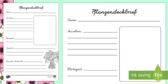 Frühlingsblumen Steckbrief Schreibvorlage - Deutsch, Frühling, Frühlingsblumen, Frühlblüher, Blumen, Pflanzen ,German.