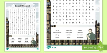 Daniel O'Connell Word Search - Daniel O Connell, wordsearch, key words, history, emancipation, catholic, liberator, emancipator, po