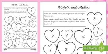 Herz Würfeln und Malen Spiel - DE Valentinstag, Vorschule und Kindergarten, 1./2. Klasse, Malaktivitäten und Ideen,Malen, Basteln
