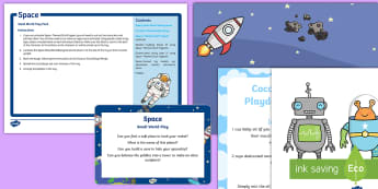 Space Small World Play Idea and Printable Resource Pack - Space, tuff spot, tuff tray, planet, rocket, play tray