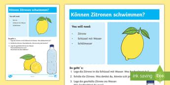 Experiment: Können Zitronen schwimmen? Arbeitsblatt - Sommer, Jahreszeiten, Experiment, Wasser, Zitrone, Naturwissenschaft, summer, seasons, experiment, w