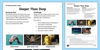Deeper Than Deep Activity Sheet Activity Sheet, worksheet
