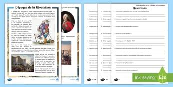 Compréhension écrite différenciée : La Révolution - La Révolution, cycle 2,  KS2,The French Revolution, Bastille Day, Bastille, Prise de la Bastille, 1
