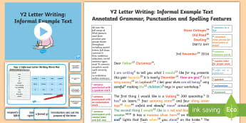 Y2 Letter Writing: Informal Model/Example Text - Example Texts Y2, letter writing, informal, exemplification, WAGOLL, exemplification, moderating, mo, ARE, age-related example, model, model text, age-related model