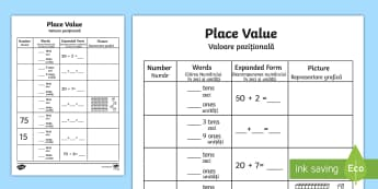 Place Value Activity Sheet English/Romanian  - Place Value Activity Sheet - place value, number worksheet, ks2 numeracy worksheets, tens and units,