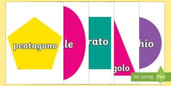 Forme 2D da Ritagliare Poster - 2D, forme, geometriche, geometria, matematica, figure, italiano, italian