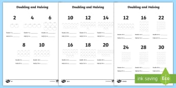 Doubling and Halving Worksheet - doubling, halving, worksheet