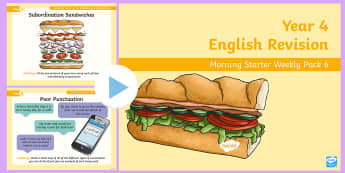 Year 4 English Revision Morning Starter Weekly PowerPoint Pack 6 - Spag, Reading, Writing, Sentences, Filler, morning task