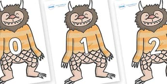 Numbers 0-100 on Wild Thing (1) to Support Teaching on Where the Wild Things Are - 0-100, foundation stage numeracy, Number recognition, Number flashcards, counting, number frieze, Display numbers, number posters