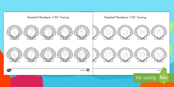 Seashell Numbers 1-20 Tracing Activity Sheet - Number Tracing, Early Childhood Math, Ocean Math, Ocean Numbers, worksheet, Tracing Numbers