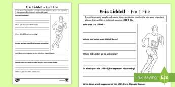 Scottish Significant Individuals Eric Liddell Fact File - CfE Scottish Significant Individuals, Eric Liddell, Christian, Sportsperson, Famous Scots,Scottish
