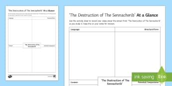 At a Glance Activity Sheet to Support Teaching on 'The Destruction of the Sennacherrib' by Lord Byron - GCSE Poetry, Lord Byron, George Gordon Byron, The Romantics, Romantic Poetry, anapaestic tetrameter,