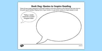 Book Day Quotes to Inspire Activity Sheets, worksheet