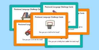 EYFS Positional Language Challenge Cards - EYFS, Maths, continuous provision, EYFS planning, Early years activities