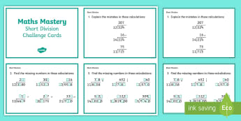 Year 6 Calculation Short Division Maths Mastery Challenge Cards - ks2 maths mastery
