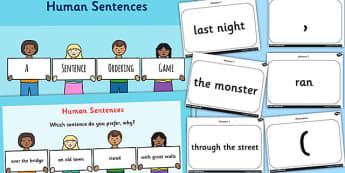 Human Sentences a Sentence Ordering Game - literacy, sentences