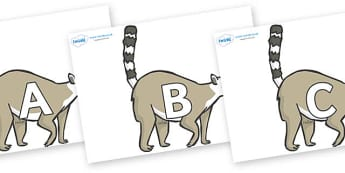 A-Z Alphabet on Lemurs - A-Z, A4, display, Alphabet frieze, Display letters, Letter posters, A-Z letters, Alphabet flashcards