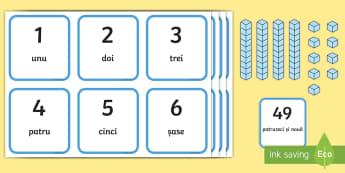 Numere formate din zeci și unități - Cartonașe ilustrate - matematică, zeci și unități, punere în corespondență, jocuri, activități, numerație, activ