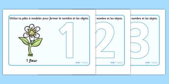 French Number Playdough Mats (1-10) - Playdough mat, francais, playdough resources, numeracy, numbers, playdough