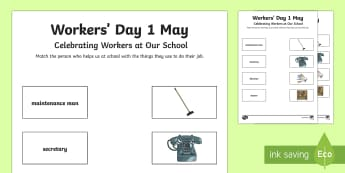 South Africa Workers' Day Matching Activity Sheet - South Africa Worker's Day 1st May, workers at school, school, matching, jobs, staff,