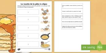 Fiche de lecture : Les étapes de la pâte à crêpes - La Chandeleur, recette, pâte à crêpes, cycle 2, KS1, candlemas, pancake batter