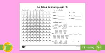 Ficha de actividad: La tabla de multiplicar x5 - tabla de multiplicar, múltiplos, ficha, mates, matemáticas, x5, por cinco, multiplicar, multiplica
