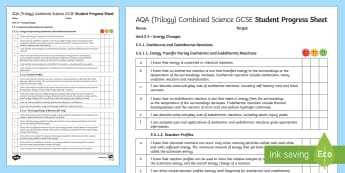 AQA (Trilogy) Unit 5.5 Energy Changes Student Progress Sheet