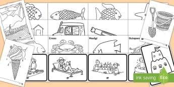 Pecyn Yr Haf Taflenni Lliwio - Yr Haf, summer, colouring sheets, rhifau, traeth, beach, display lettering, posteri, ysgrifennu, sum