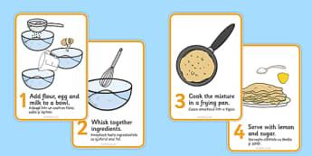 Pancake Recipe Sheet Romanian Translation - romanian, Pancake day, recipe, pancake, shrove Tuesday, pancakes, recipe card, making pancakes, display poster, recipe information