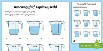 Amcangyfrif Cynhwysedd Blwyddyn 2 Taflenni Gweithgaredd - dwr, rhifedd, mesur, dŵr, capacity, estimation,Welsh