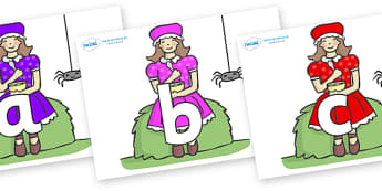 Phoneme Set on Little Miss Muffet - Phoneme set, phonemes, phoneme, Letters and Sounds, DfES, display, Phase 1, Phase 2, Phase 3, Phase 5, Foundation, Literacy