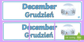 December Display Banner English/Polish - December Display Banner - december, display banner, display, banner, months, year, abnner,EAL,Polish