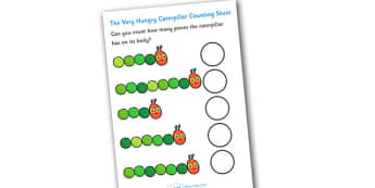 Counting Sheet to Support Teaching on The Very Hungry Caterpillar - education,  free