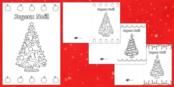 Les sapins de Noël Carte de Noël à colorier - Noël, Christmas, carte, colorier, coloriage, colour, card, tree, sapin, arts plastiques, French