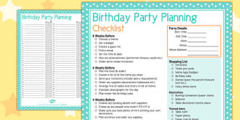 Birthday Party Planning Checklist - birthday, party, planning